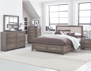 Anderson Neutral Grey Burnished Paint Finish Queen Storage Bed, Dresser, Mirror, Nightstand, Chest.