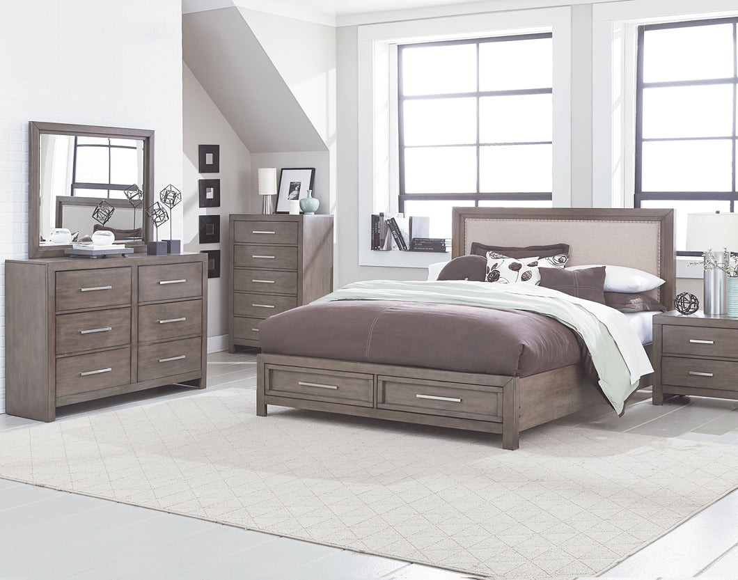Anderson Neutral Grey Burnished Paint Finish King Storage Bed, Dresser, Mirror, 2 Nightstands, Chest.