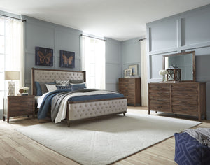 Bryan Walnut Wood Finish Acacia solids, Acacia Veneer. Queen Upholstery Bed, Dresser, Mirror, Nightstand, Chest