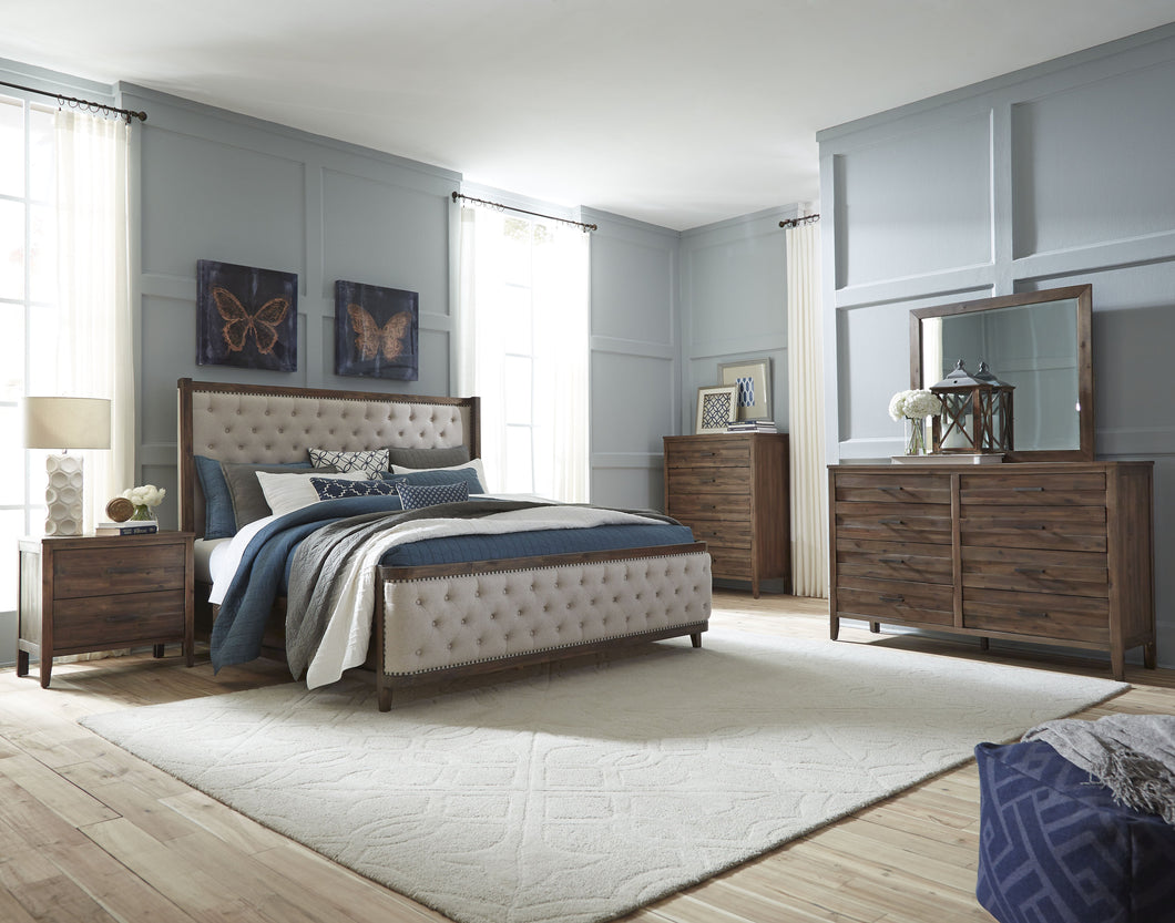 Bryan Walnut Wood Finish Acacia solids, Acacia Veneer.Queen Upholstery Bed, Dresser, Mirror, 2 Nightstands, Chest