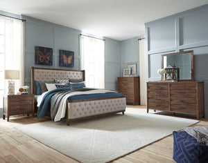 Bryan Walnut Wood Finish Acacia solids, Acacia Veneer. King Upholstery Bed, Dresser, Mirror, 2 Nightstands, Chest