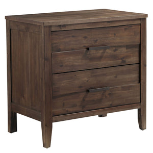 Bryan Walnut Wood Finish Acacia solids, Acacia Veneer. 2-Drawer Nightstand.