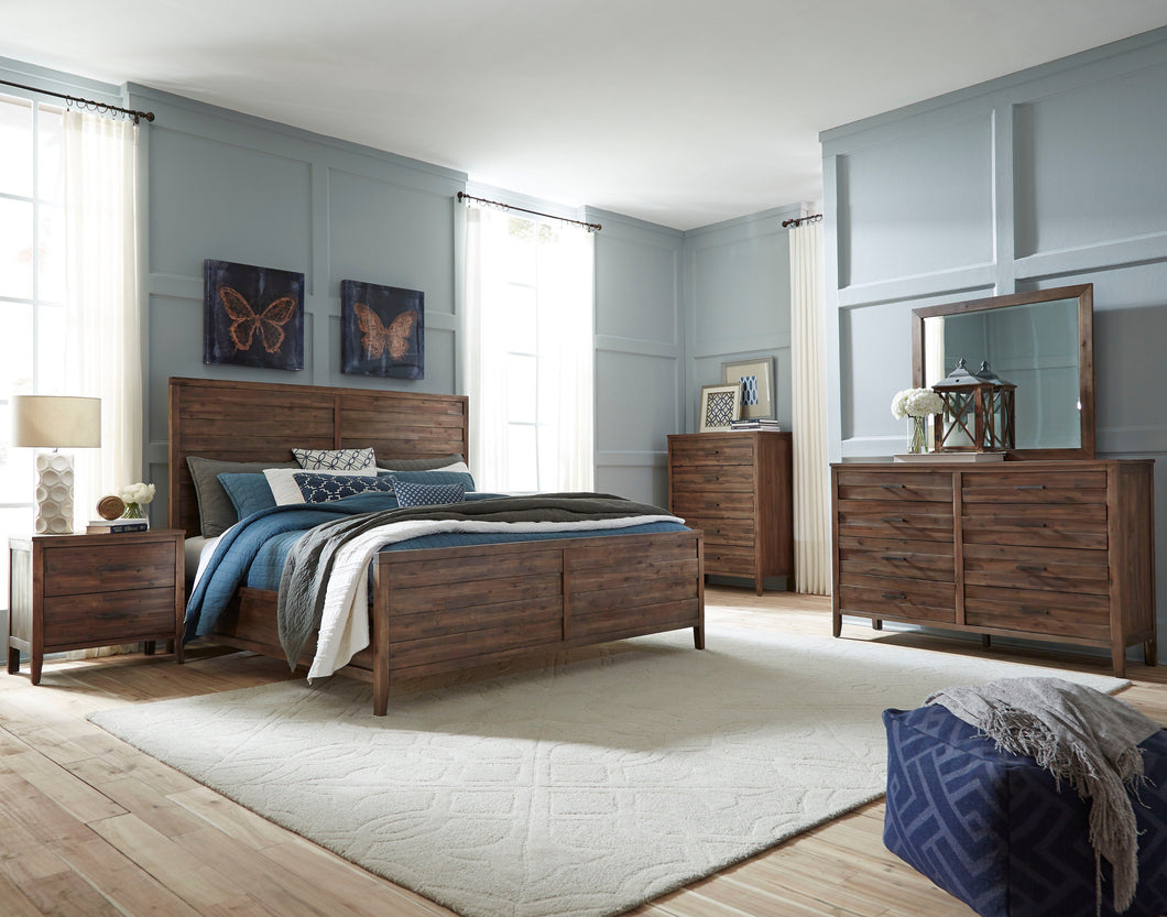 Bryan Walnut Wood Finish Acacia solids, Acacia Veneer. Queen Wood-Panel Bed, Dresser, Mirror, 2 Nightstands, Chest