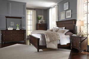 Bruce Stain Cherry Finish Poplar Solids, Quarered Cherry Veneers, King Bed, Dresser, Mirror, 2 Nightstands, Chest
