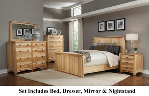 Adamstown 4 Piece Bedroom Set with King Sized Panel Bed, Dresser, Mirrror, and Nightstand