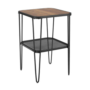 "16"" Mid Century Modern Side Table with Hairpin metal and mesh - Dark Walnut"