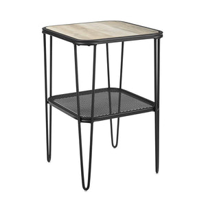 "16"" Mid Century Modern Side Table with Hairpin metal and mesh - Grey Wash"