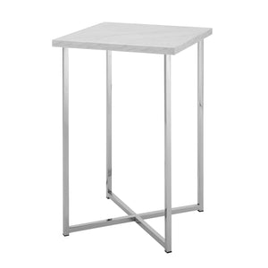 "16"" Square Side Table - White Marble Top, Chrome Legs"