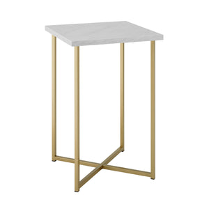 "16"" Square Side Table - White Marble Top, Gold Legs"