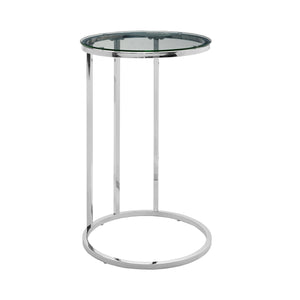 "16"" Round C Table - Clear Glass Top, Chrome Base"