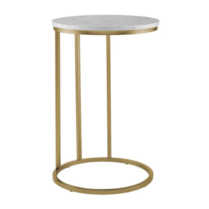 "16"" Round C Table - White Marble Top, Gold Base"