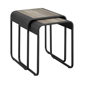 "18"" Curved Metal Nesting Tables - Grey Wash / Black"
