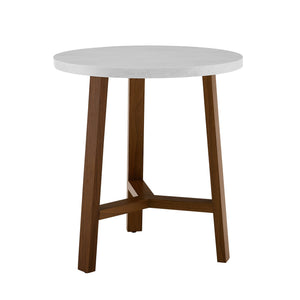 "20"" Round Side Table - White Marble and Acorn"