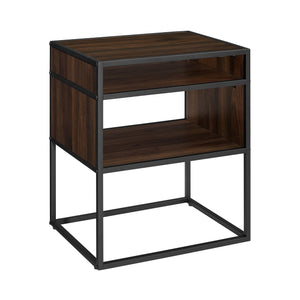 "20"" Mid Century Modern Urban Industrial Metal and Wood Side Table with Open Shelf - Dark Walnut"