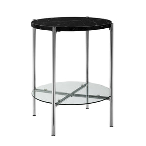 "20"" Round Side Table - Black Marble Top, Glass Shelf, Chrome Legs"