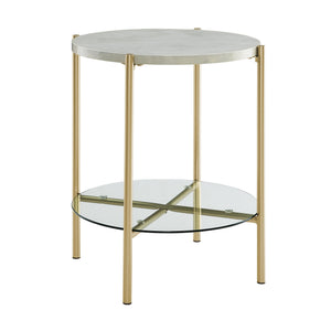"20"" Simone Round Side Table - White Marble & Gold"
