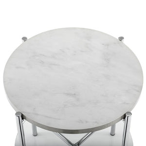 "20"" Round Side Table - White Marble Top, Glass Shelf, Chrome Legs"