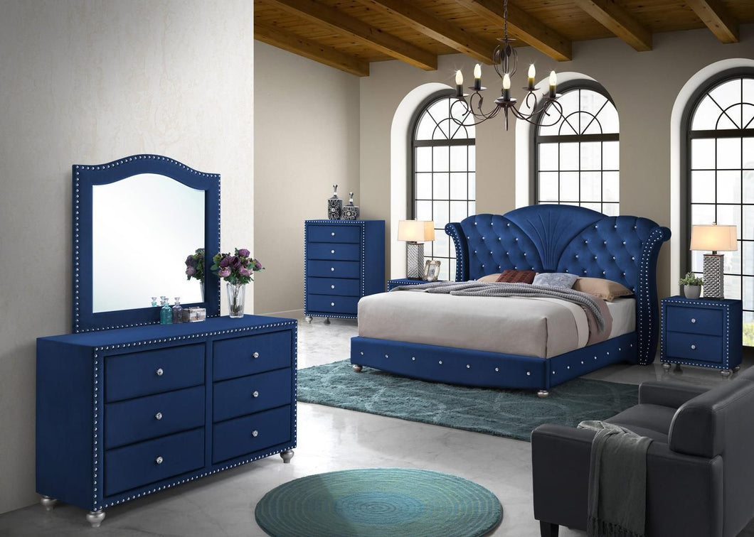 Alana Collection ALANA KING BED BLUE SET 6-Piece Bedroom Set with King Size Bed, Dresser, Mirror, Chest and 2 Nightstands in Blue