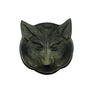 Antique Metal Fox Candle Tray