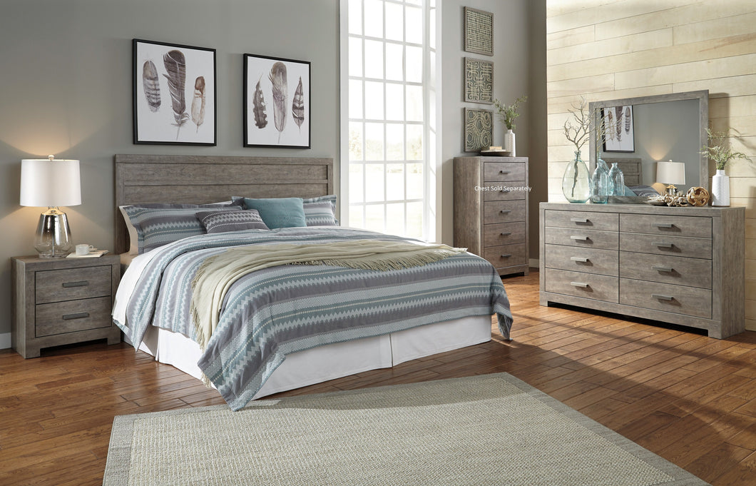 Colvern Casual Gray Color Bedroom Set: King Panel Headboard, Dresser, Mirror, Nighstand