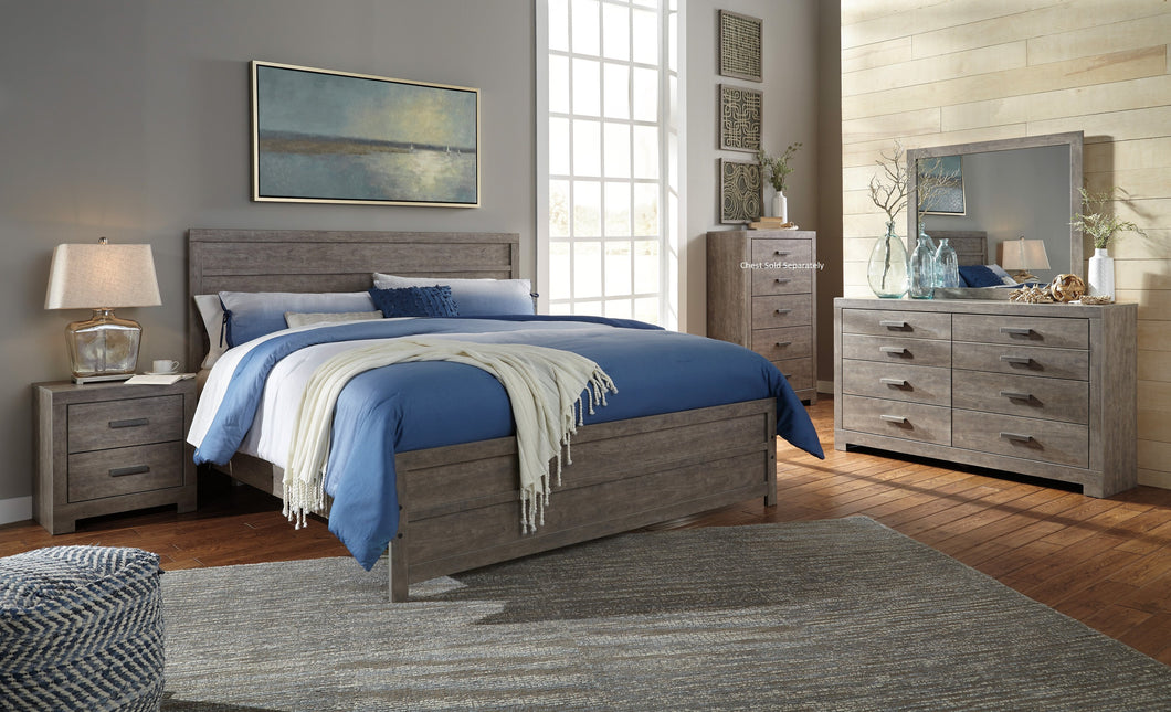 Colvern Casual Gray Color Bedroom Set: King Bed, Dresser, Mirror, Nighstand