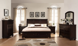 Brishland Rustic Cherry Storage Bedroom set  King Bed  Dresser  Mirror  2 Nighstands and Chest