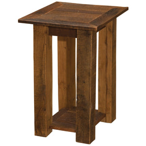 Barnwood Open Nightstand with Shelf