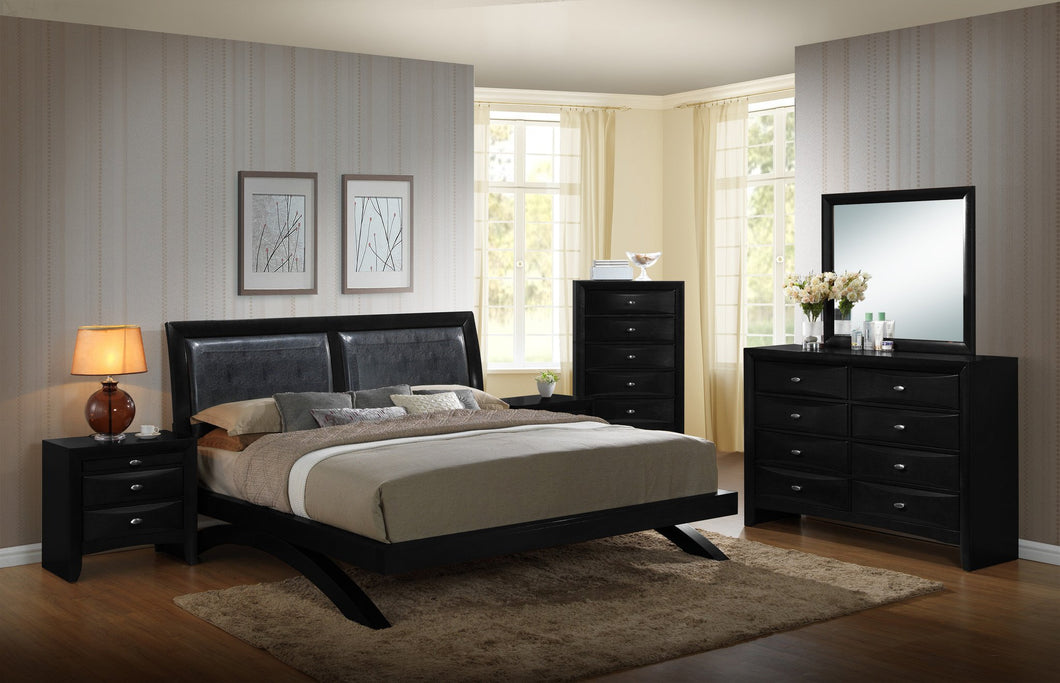 Blemerey 110 Black Wood Arch-Leg Bed Group, King Bed, Dresser, Mirror, 2 Night Stands, Chest