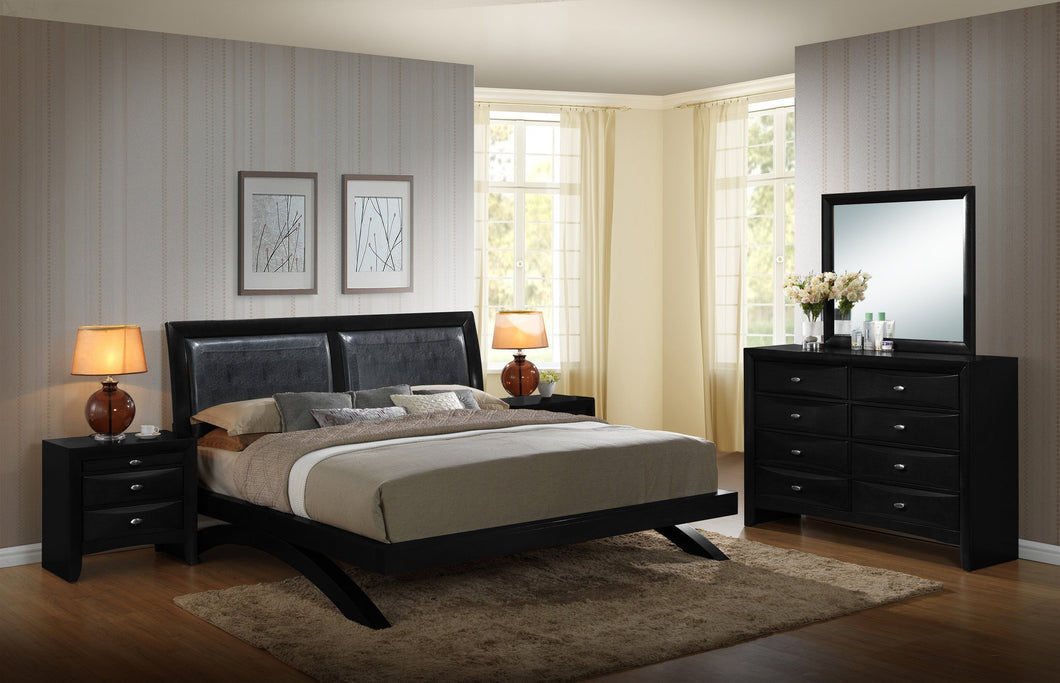 Blemerey 110 Black Wood Arch-Leg Bed Group  King Bed  Dresser  Mirror  2 Night Stands
