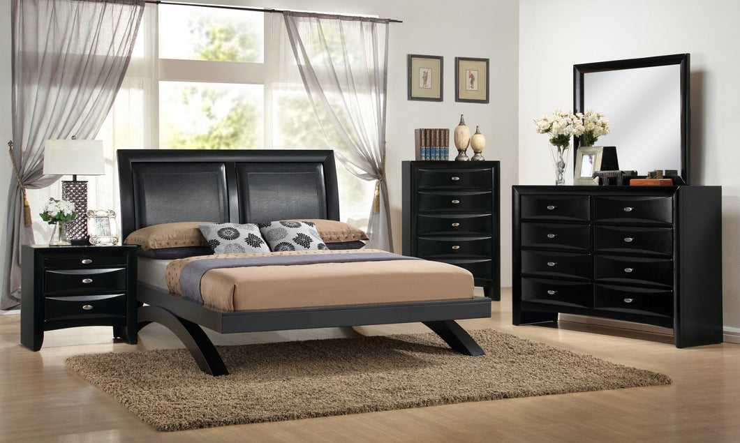 Blemerey 110 Black Wood Arch-Leg Bed Group  King Bed  Dresser  Mirror  Night Stand  Chest