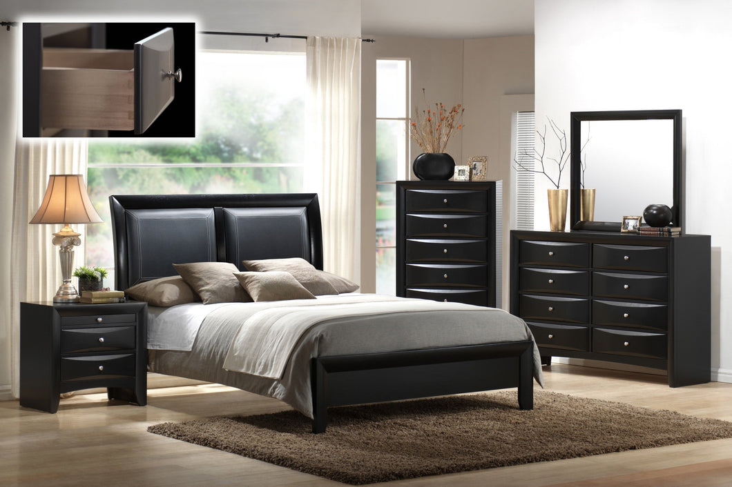 Blemerey 110 Wood and Bonded Leather Bed Room Set , King Bed, Dresser, Mirror, Night Stand, Chest, Black Finish