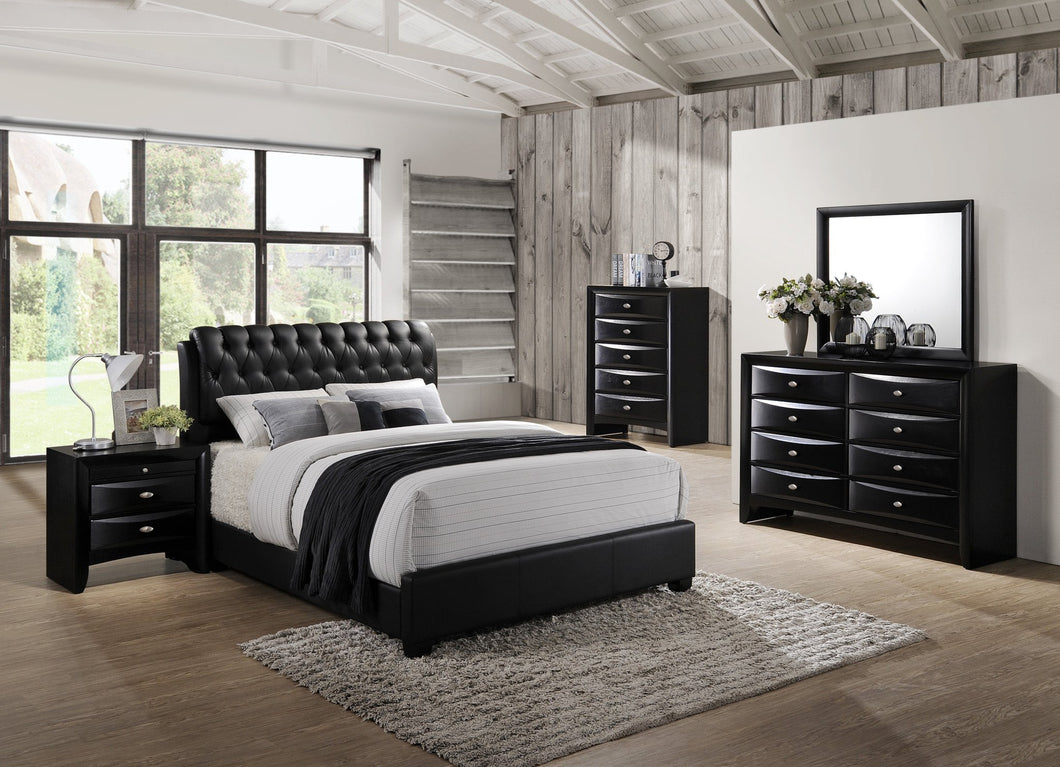 Blemerey 110 Black Wood bonded leather Bed Group  King Bed  Dresser  Mirror  Night Stand  Chest