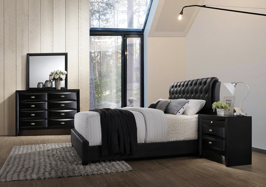 Blemerey 110 Black Wood bonded leather Bed Group  King Bed  Dresser  Mirror  Night Stand