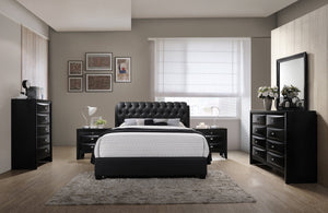 Blemerey 110 Black Bonded Leather Bed Group, Queen Bed, Dresser, Mirror, 2 Night Stands, Chest