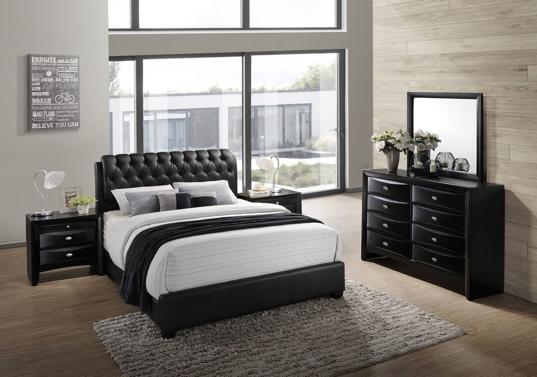 Blemerey 110 Black Wood bonded leather Bed Group  Queen Bed  Dresser  Mirror  2 Night Stands