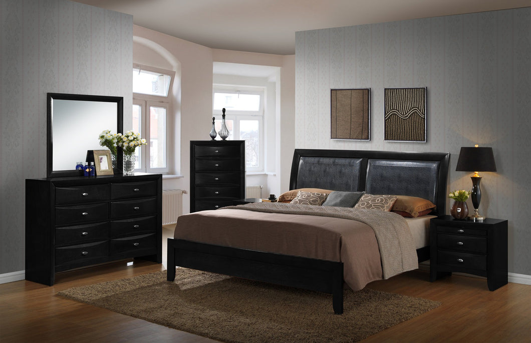 Blemerey 110 Wood and Bonded Leather Bed Room Set , Queen Bed, Dresser, Mirror, 2 Night Stands, Chest, Black Finish