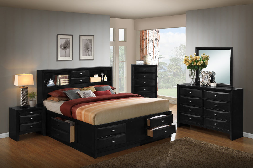 Blemerey 110 Black Wood Storage Bed Group, King Bed, Dresser, Mirror, 2 Night Stands, Chest