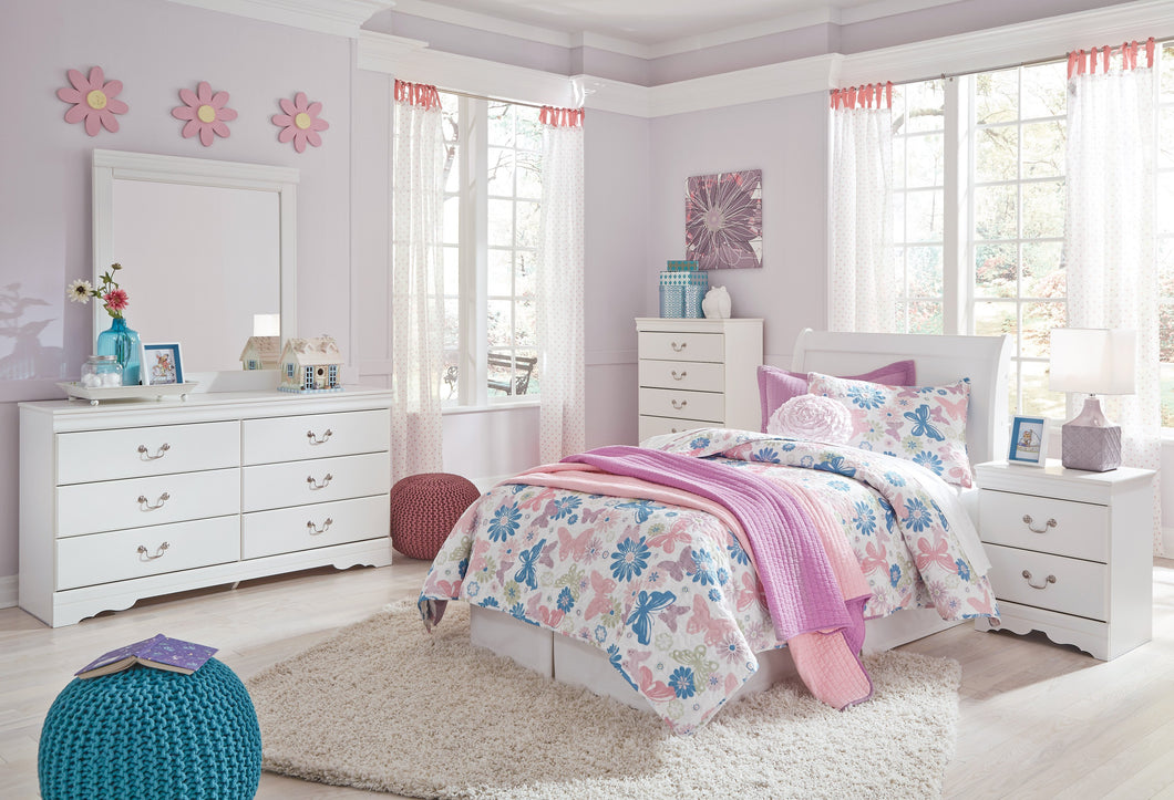 Anarena Traditional White Color Bedroom Set: Twin Sleigh Headboard, Dresser, Mirror, Nightstand, Chest