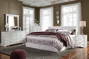 Anarena Traditional White Color Bedroom Set: King Sleigh Headboard, Dresser, Mirror, 2 Nightstands, Chest