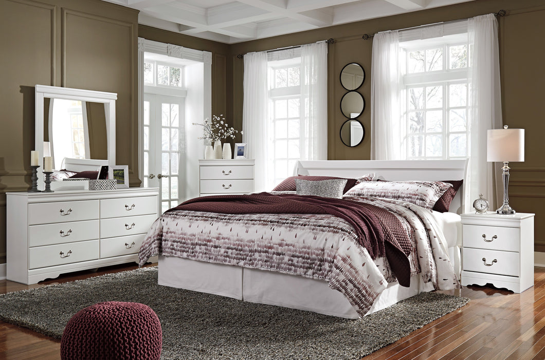 Anarena Traditional White Color Bedroom Set: King Sleigh Headboard, Dresser, Mirror, 2 Nightstands