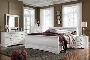 Anarena Traditional White Color Bedroom Set: King Sleigh Bed, Dresser, Mirror, 2 Nightstands