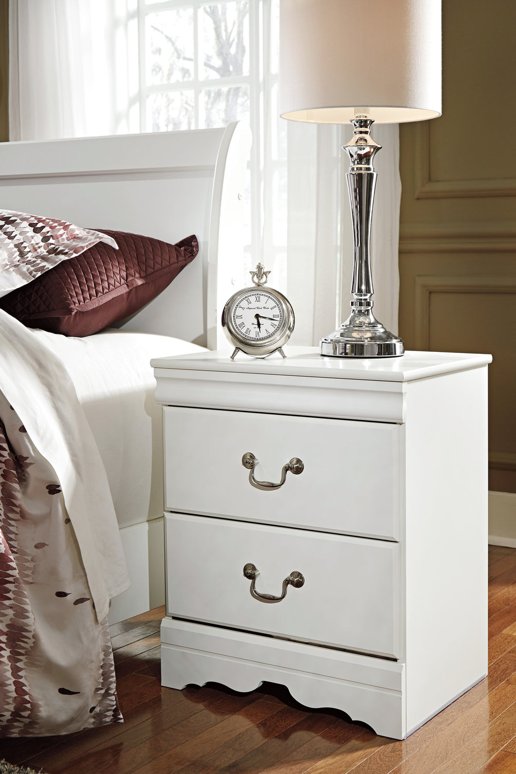 Anarena Traditional White Color Two Drawer Night Stand
