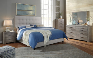 Colvern Casual Gray Color Bedroom Set: King Bed, Dresser, Mirror, Nighstand, Chest