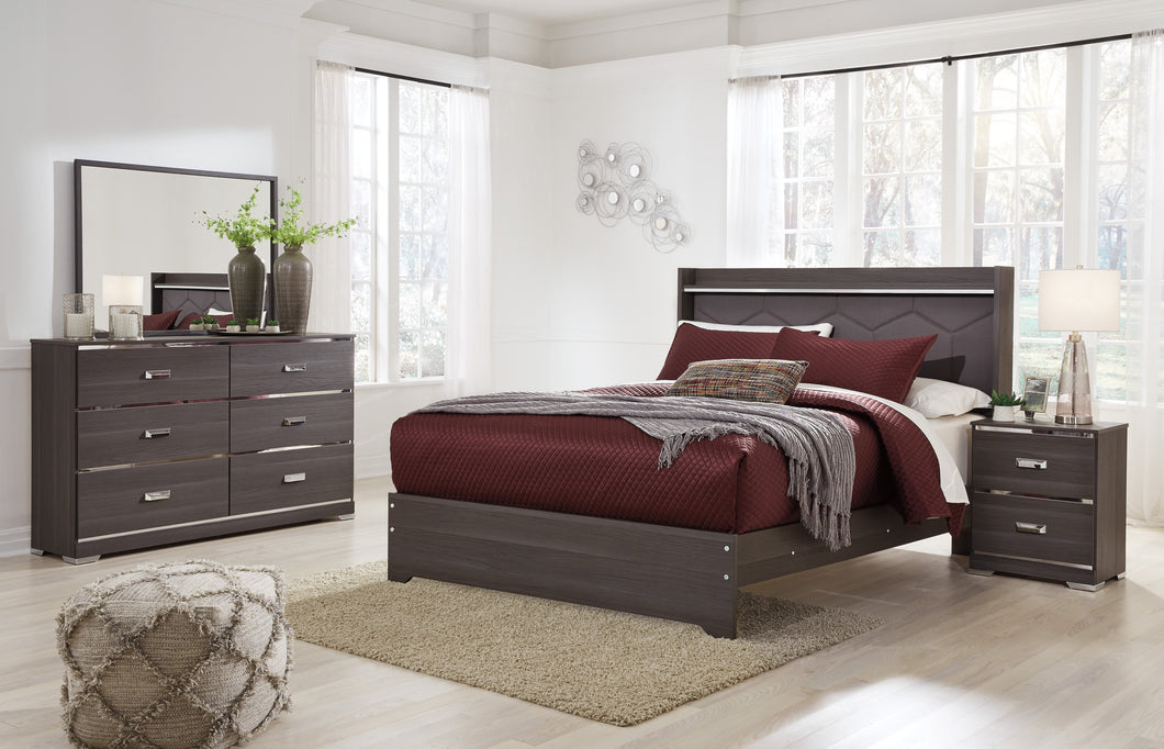 Armavir Twin Upholstered Bed with LED Light, Dresser,Mirror, Nightstand Set