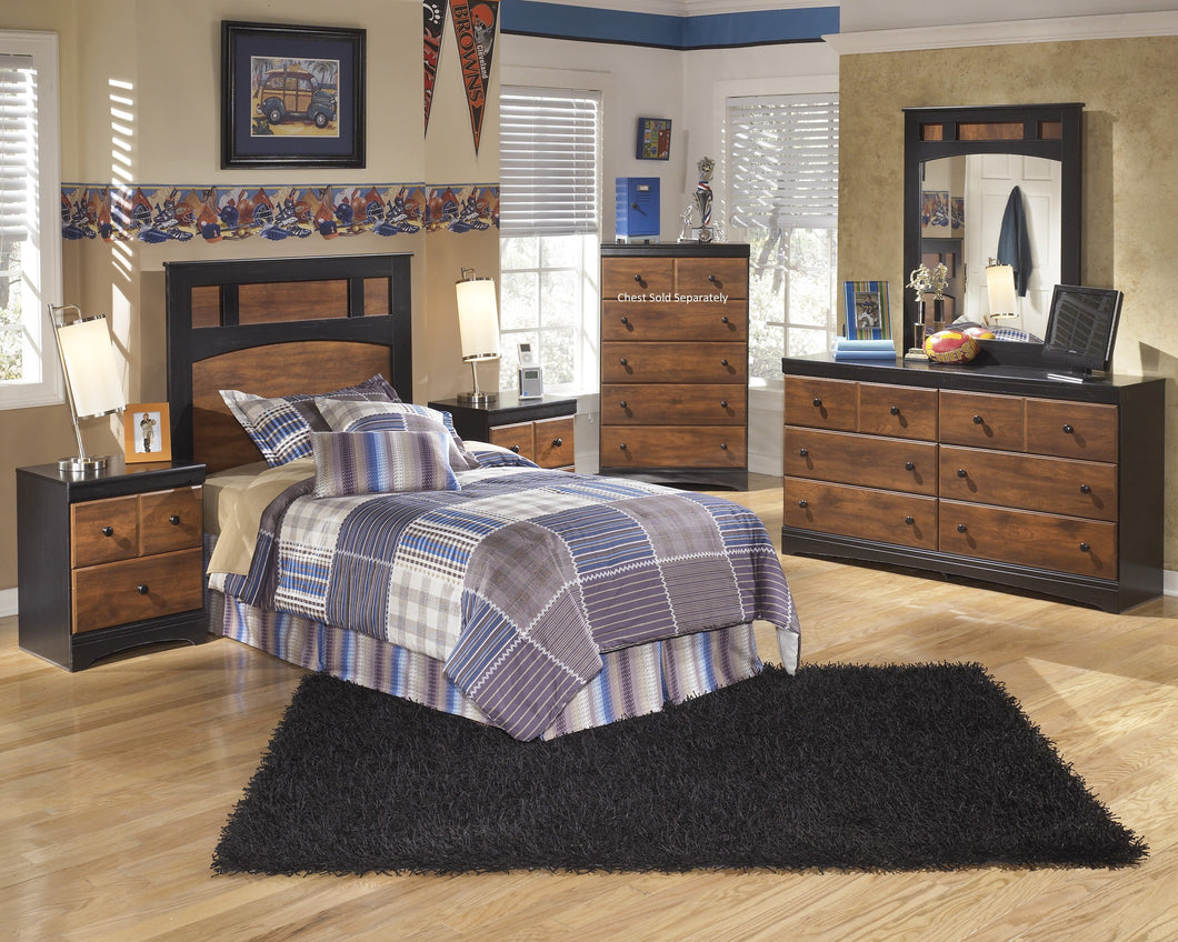 Airwell Casual Dark Brown Color Bedroom Set: Twin Panel Headboard, Dresser, Mirror, Nightstand