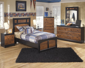 Airwell Casual Dark Brown Color Bedroom Set: Twin Bed, Dresser, Mirror, Nightstand, Chest
