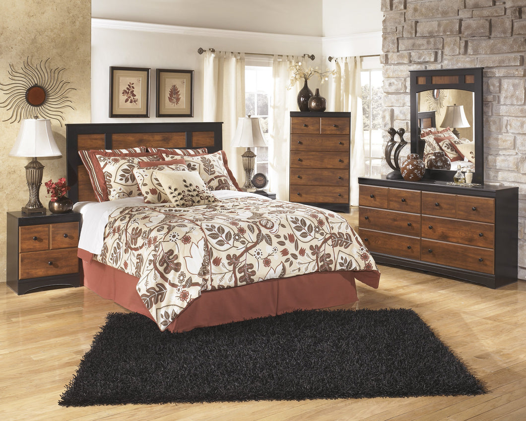 Airwell Casual Dark Brown Color Bedroom Set: Queen Panel Headboard, Dresser, Mirror, 2 Nightstands, Chest