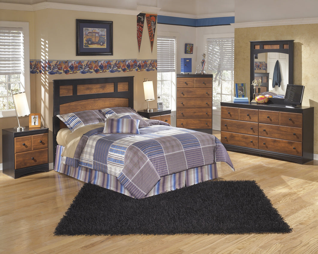 Airwell Casual Dark Brown Color Bedroom Set: Full Panel Headboard, Dresser, Mirror, 2 Nightstands, Chest