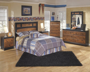 Airwell Casual Dark Brown Color Bedroom Set: Full Panel Headboard, Dresser, Mirror, 2 Nightstands
