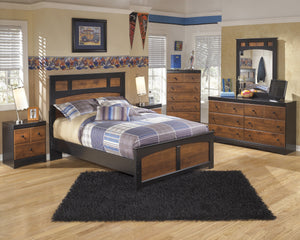 Airwell Casual Dark Brown Color Bedroom Set: Full Bed, Dresser, Mirror, Nightstand, Chest
